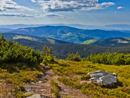 Beautiful view from trail of Beskidy mountains, Poland